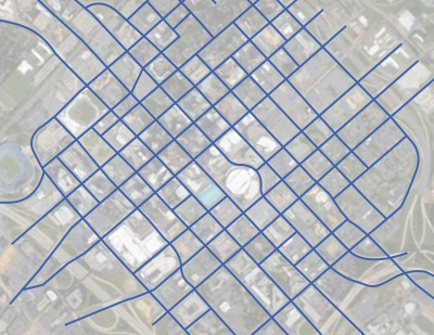 Street network for Center City Charlotte