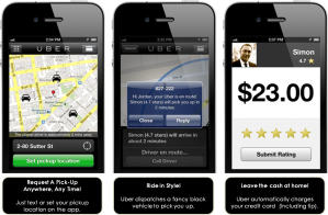 Uber's iPhone app - Image Source: Wikimedia.org