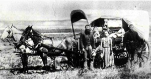 Laura Ingalls Wilder traveling in the covered wagon - Image Source: pcraig.iweb.bsu.edu/LIW/childhood.html